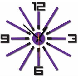 3D kolorowy zegar ścienny WARRAS, kolor: czarny, fioletowy
