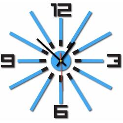 3D kolorowy zegar ścienny WARRAS, kolor: czarny, jasnoniebieski