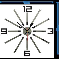 3D kolorowy zegar ścienny WARRAS, kolor: czarny, szary