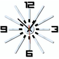 3D kolorowy zegar ścienny WARRAS, kolor: czarny, lustro