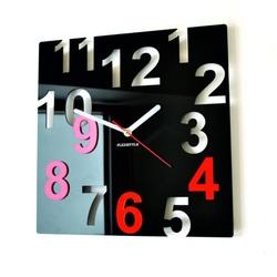 Nowoczesny zegar ścienny - Kolorowe numery, kolor: czarny, czerwony