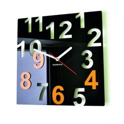 Nowoczesny zegar ścienny - Kolorowe numery, kolor: czarny, żółty