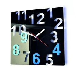 Nowoczesny zegar ścienny - Kolorowe numery, kolor: czarny, jasnoniebieski