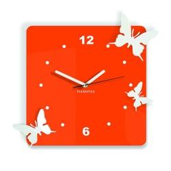 Nowoczesny zegar ścienny wykonany z plastiku - Motyle, Kolor: pomarańczowy, biały, Rozmiar: 30x30 cm