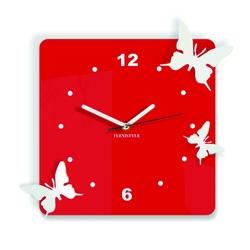 Nowoczesny zegar ścienny wykonany z plastiku - motyle, kolor: czerwony, biały, rozmiar: 30x30 cm