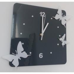 Nowoczesny zegar ścienny wykonany z plastiku - Motyle, Kolor: Szary, biały, Rozmiar: 30x30 cm