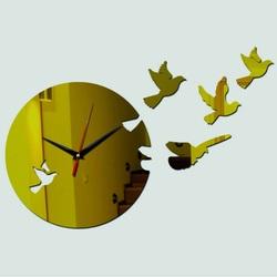 Nástenné hodiny zlatá holubica , nálepka na stenu .