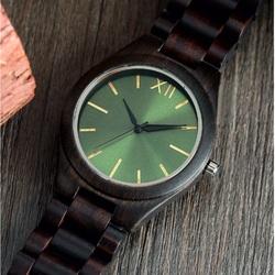 Drewniany zegarek na rękę- Zielona Dwanaście-Yisuya