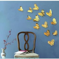 Nowoczesna naklejka ścienna - złoty motyl, 1 komplet - 12szt