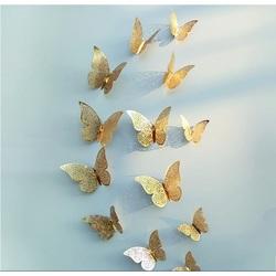 Modna naklejka ścienna-złoty motyl, 1 komplet - 12szt