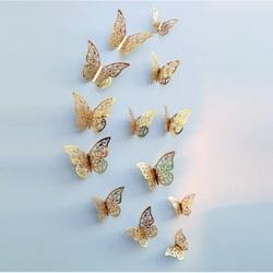 Stylowa naklejka na ścianę -złoty motyl, 1 zestaw - 12szt