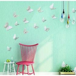 Naklejka 3D na ścianie srebrny motyl, 1 zestaw - 12szt