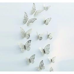Modna naklejka- Srebrny motyl, 1 zestaw - 12szt