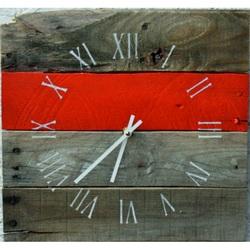 Kreatívne hodiny rímske s červeným pásikom , drevené .