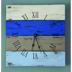 Hodiny z dreva na stenu pestré , modrá lagúna .