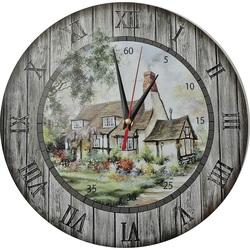 Zegar ścienny z drewna - Chata, okrąg Fi: 30cm