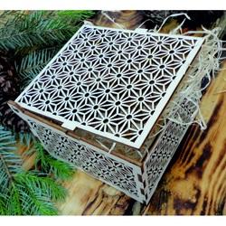 Vintage drewniane pudełko - łatwe, rozmiar: 12,6x12,6x8,2 cm, złożone