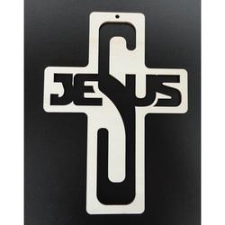 Dekoracja w stylu vintage wykonana z drewna - Jezus, wymiary: 260x187 mm