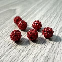 Koraliki Shamballa - czerwony FI 10 mm