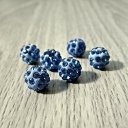 Koraliki Shamballa - słaby niebieski FI 10 mm