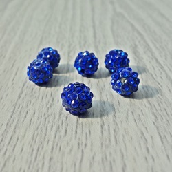Koraliki Shamballa - królewski niebieski FI 10 mm