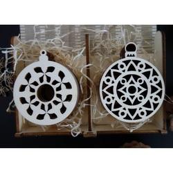 Drewniane ozdoby świąteczne, 1 zestaw - 12 sztuk