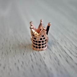 Metalowa korona z czarnymi cyrkoniami - miedź