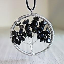 Wisiorek z kamieni szlachetnych - drzewo - czarny onyks