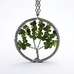 Wisiorek z kamieni - drzewo - oliwin