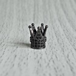Metalowa korona z czarnymi cyrkoniami - czarny