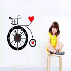 Nástenné hodiny dievčatko a bicykel . 3M Folia rozmer 25x90
