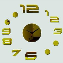 Nástenné hodiny anežka ,zrkadlové nálepka na stenu . Zlato.