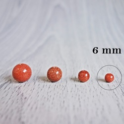 Awenturynowe złoto (słoneczny kamień) - minerał perełki - FI 6 mm