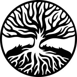 Nowoczesny obraz drewnianych korzeni ze sklejki