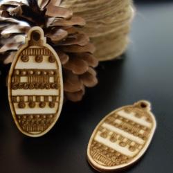 Drewniana dekoracja na choinkę, rozmiar: 68x33 mm