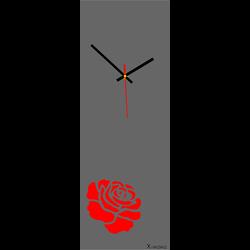 Zegar ścienny nowoczesny (nowoczesny zegar na różanej ścianie) kolor: czerwona róża
