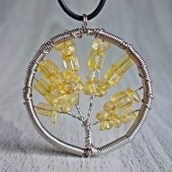 Wisiorek z kamieni - drzewo - cytryn