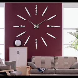 Duży zegar ścienny z naklejką lustrzaną 3D SIX