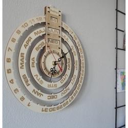Drewniany kalendarz zegar ścienny kalendarz z drewna grawerowanego laserem CALENDAR