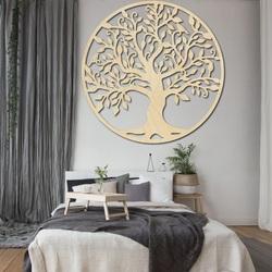 Dekoracja na ścianie drzewa życia drewniany obraz sklejki RODZINA