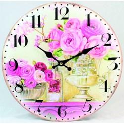 Nástenné hodiny ružové ruže   MDF . Fi 30 cm