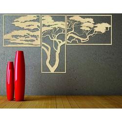 Obraz drewniany na ścianie HANAA Obraz składa się z trzech części POLONGE