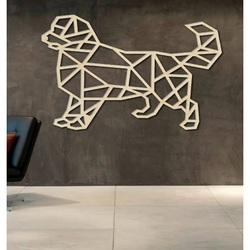 STYLESA Rzeźbiona obraz na ścianie psa ze sklejki PR0230 czarny