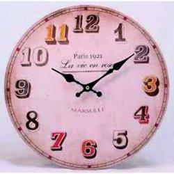 Drevené hodiny Marseille. Materiál: MDF, rozmer: Fi 30 cm