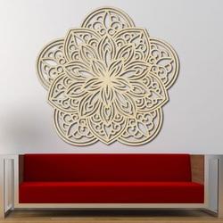 Kwiat rzeźbiona mandala drewniane zdjęcie na ścianie ze sklejki