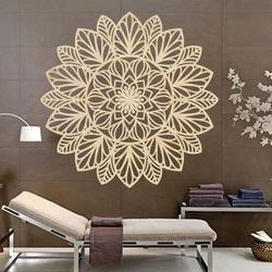 Rzeźbiony kwiat drewniany obraz mandali na ścianie ze sklejki