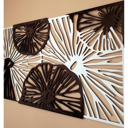 Carved image on the wall of wooden plywood color original poplar / brown POTONSFE