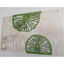 Faragott kép fából készült furnérfa eredeti nyár, második színű zöld KIWIKI