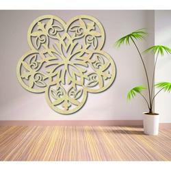 Obraz ściany mandali wyrzeźbionej z kwiatów sklejki drewnianej