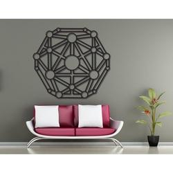 Geometryczne malowanie na ścianie drewnianej sklejki
